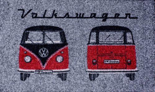 Fußmatte Bus Front u. Heck grau/schwarz/rot