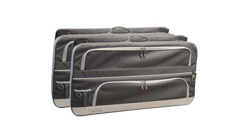 Praktisches Pack-System im 2er-Set von Vaude für die hintersten, seitlichen Scheiben des Fahrzeugs in anthrazit von der Firma VanEssa